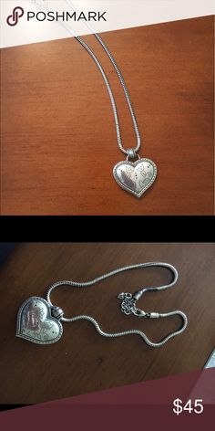 Brighton Big Heart Necklace Beautiful, sterling sliver, will polish before sending Brighton Jewelry Necklaces