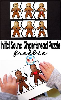 How To Produce Elementary School Much More Enjoyment Initial Sound Gingerbread Puzzles Are The Perfect Addition To Your Literacy Centers. This Free Printable Is Perfect For Preschool, Kindergarten, And First Grade Students. Kindergarten Centers, Kindergarten Literacy, Early Literacy, Preschool Learning, Literacy Centers, Preschool Activities, Alphabet Activities, Winter Activities, Journeys Kindergarten
