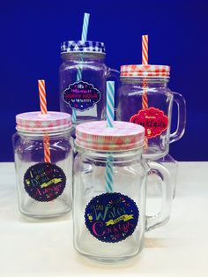 Mason Jars with Lids and Straws - designs include 'Save Water Drink Cocktails', 'I Don't Get Drunk I Get Awesome', 'This Deserves Cocktails' and 'It's Always Happy Hour Somewhere'