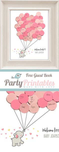Free Elephant Baby Shower Guest Book Printable. SUPER cute...