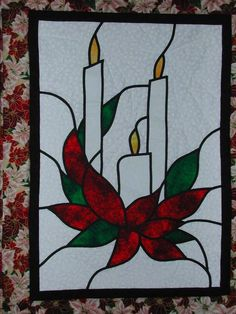 christmas cottage quilt - Bing Images (adapt to stained glass)