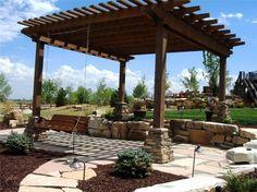 patio pergola ideas | Wooden Pergola SwingPergola and Patio CoverLindgren LandscapeFort ...