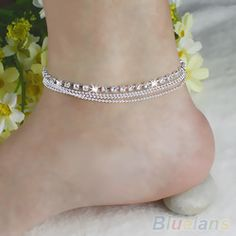 Online Shop Chic Women's 4 Layers Crystal Beads Sandal Beach Anklet Ankle Chain Foot Jewelry 2KSS|Aliexpress Mobile
