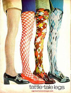 december 1969 teen magazine Mod patterned Vintage retro leggings tights