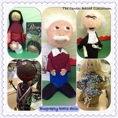 The Center Based Classroom - Biography Bottle Dolls! A fun alternative to a traditional biography report. Grab the project outline for FREE! Book Report Projects, Book Projects, School Projects, School Ideas, Project Ideas, Craft Ideas, 3rd Grade Reading, Third Grade, Fourth Grade