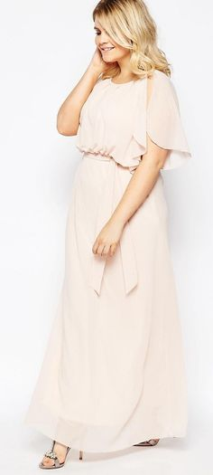 Plus Size Maxi Dress With Fluted Sleeves