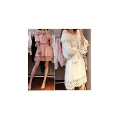 Off-shoulder Bell Sleeved Lace Trim Dress ($33) ❤ liked on Polyvore
