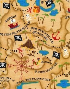 Pirate Map Fabric on Natural By the Yard by luckykaerufabric