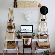 Bureau en bois très pratique avec beaucoup de rangements pour une super organisation au travail
