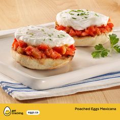 Poached Eggs Mexicana   Eggs.ca   #GetCracking #Eggs #Poached Enjoy your eggs with some kick in this Mexican-inspired dish. Poached eggs top toasted English muffin halves layered with salsa, and sautéed vegetables. A quick, delicious and healthy breakfast.