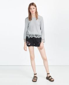 Image 1 of SILK TOP WITH LACE TRIM from Zara