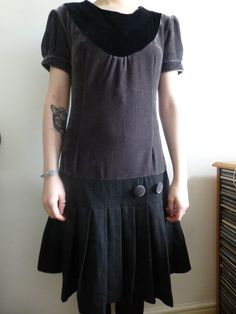 Vintage YUMI dress. Black and grey dropped waist and pleats. s/m by JonHenrysCurios on Etsy