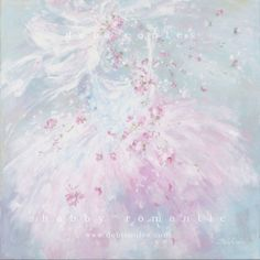 Romantic shabby chic style large tutu and rose paintings available at www.debicoules.com