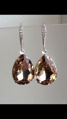 a7a761108 Vintage Crystal Earrings in Sapphire, Golden, or Amethyst Sterling Silver  Pave Earrings, Weddings, Bridal, Bridesmaid, Formal, Dangle, Drop