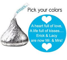 540 stickers for Hershey's Kisses wedding by digitaldoodlebug, $20.00