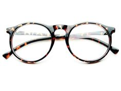 CLEAR LENS ROUND GLASSES RETRO STYLE TORTOISE R403