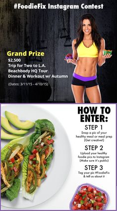 Want to win a trip to LA for two and a private workout & dinner with Autumn Calabrese? Here's your big chance. Just tag your healthy, sexy food pics with #FoodieFix on Instagram. Get the full scoop here: http://www.beachbody.com/beachbodyblog/foodiefix // workout // motivation // contest // fitspo // fitspiration // inspiration // exercise // 21 day fix // lifestyle // diet // nutrition // clean eating // health