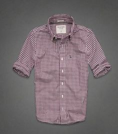 NEW ABERCROMBIE By HOLLISTER MEN RED WHITE PLAID CHECKED BUTTON Muscle SHIRT S