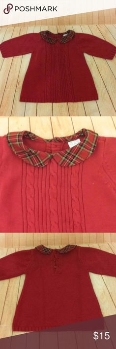 """Holiday sweater red & plaid 12mo Childrens place Up for grabs are 2 (while supplies last) classic red sweaters by THE CHILDRENS PLACE. Red soft cable knit design. Red and green tartan plaid collars. Perfect for holidays or just wintertime. 3 back buttons. """"Tunic"""" style width. Gently used condition with no unusual signs of wear beyond normal wash and wear. 60% cotton, 40% acrylic. Smoke free pet free home. Feel free to check out more of my baby girl clothing and create a bundle! The…"""