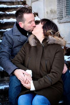 Romantic photography session in the park, fresh snowfall, winter portrait photography, happy newlyweds, new parents, Montreal