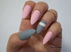 pink and grey nail design