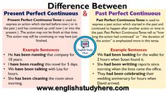 Difference Between Present Perfect Continuous and Past Perfect Continuous - English Study Here English Grammar Notes, Tenses English, Teaching English Grammar, English Grammar Worksheets, English Vocabulary Words, Teaching Math, Study German, English Study, Learn English