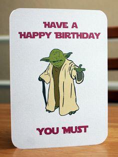 Star Wars Printable Birthday Card Yoda Card by elletoppdesignworks, $2.00