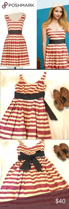 Caranday Dress by Corey Lynn Carter This is a reposh! Anthropologie dress. Red and cream striped fit and flare. Size 4. So cute, but unfortunately it's a touch too small for me. Excellent condition. For reference, I'm normally a 4 or a 6... so I would definitely say this is a small 4. Price is firm.. I purchased for $40 so I would like to sell for $40. Anthropologie Dresses Mini