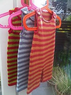 Free pattern - Stripey baby dungarees by Becky Smith