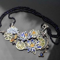 Monet's Water Lilies  Monet's Water Lilies  Monet's Water Lilies  | Gold-plated Silver Enamel Necklace - product images  of SCHJ  www.silverchamber...
