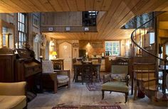Historic Chapel to Small House Conversion - main living area, isn't this gorgeous!?