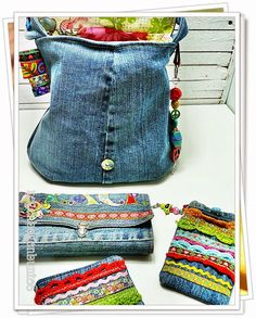 Denim and crochet bags! Diy Jeans, Jean Purses, Purses And Bags, Stoff Design, Bag Crochet, Denim Handbags, Denim Ideas, Denim Crafts, Recycled Denim