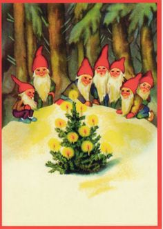Vintage Christmas Post Card Gnomes around the Xmas tree Swedish Christmas, Christmas Gnome, Scandinavian Christmas, Christmas Past, Retro Christmas, Vintage Christmas Cards, Vintage Holiday, Christmas Pictures, Xmas Cards