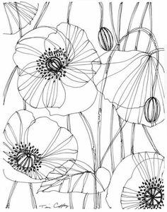 pencil drawings - Drawing Flowers & Mandala in Ink Drawing On Demand Poppy Drawing, Floral Drawing, Flower Pattern Drawing, Sgraffito, Flower Line Drawings, Plant Drawing, Flower Doodles, Motif Floral, Silk Painting