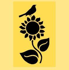 Sunflower with Crow Stencil