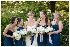 Coastal weddings at Eolia Mansion, Harkness Park, Waterford, CT www.annasawin.com navy blue bridesmaid dresses