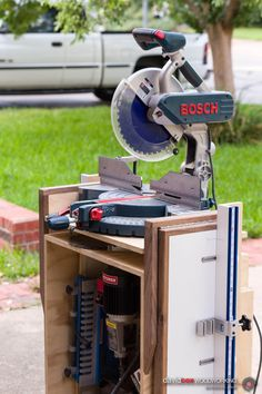 Front Right View of Folding, Rolling Chop Saw Stand with Wings Folded