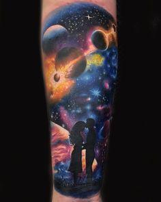 Galaxy Tattoo Sleeve, Star Sleeve Tattoo, Space Tattoo Sleeve, Nature Tattoo Sleeve, Star Tattoos, Body Art Tattoos, Sleeve Tattoos, Creative Tattoos, Unique Tattoos