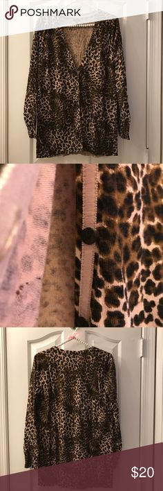 """Soma Chico's Leopard Cardigan EUC. Worn once. Comes down a little below the waist.  Armpit to armpit is 19.5"""". Soma Sweaters Cardigans"""