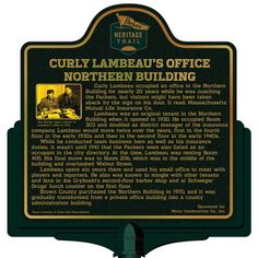 Marker - Curly Lambeau's Office Building Curly Lambeau, Green Bay Packers, Wisconsin, Marker, History, Building, Historia, Markers, Buildings