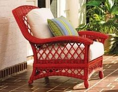 Find some cheap wicker furniture and paint it a fun color - would be nice under the covered porch, patio or deck! by SAburns