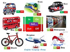 Phrasal Verbs for Transportation: Get... In/Out or Get... On/Off