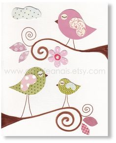 Stanza Baby art - arte bambini - scuola materna arredamento - arte bambini - bambini arredamento - arte muro vivaio - uccelli - Tres Belle J...