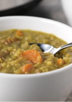 Slow-Cooker Split Pea Soup — This slow-cooker split pea soup recipe gets an extra layer of deliciousness with the addition of finely chopped ham.