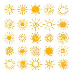 Vector hands drawn sun icons, doodle cartoon morning summer sketch suns isolated on white background Doodle Drawings, Easy Drawings, Doodle Art, Sun Drawing, Painting & Drawing, Sun Doodles, Sun Illustration, Doodle Cartoon, Cute Sun