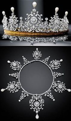 Diamond & Pearl ~ this tiara can be taken off it's base and worn as a necklace; my wedding tiara (not this big! it's quite common in tiaras Totally fit for a princess Royal Crowns, Royal Tiaras, Crown Royal, Tiaras And Crowns, Diamond Tiara, Royal Diamond, Royal Jewelry, High Jewelry, Pearls