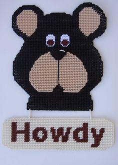 "everything plastic canvas   Plastic Canvas-Black Bear ""Howdy"" Plastic-Canvas-Kits.Com"