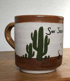 80/'s Vintage Cactus Pottery Round Pot Boho Decor Desert Scene Bohemian Style Southwestern Design