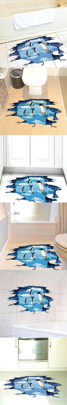 [SHIJUEHEZI] Creative Penguins Floor Stickers Vinyl Material Glacial Trail Animals Stickers for Kids Room Toilet Decoration