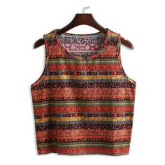 SheIn(sheinside) Vintage Geometric Print Orange Tank Top (€8,01) ❤ liked on Polyvore featuring tops, orange, cami tops, orange tank, brown camisole, orange top and brown tops